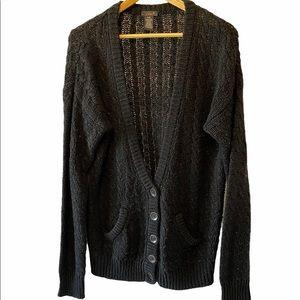 DEX Black Loose Fit Deep V Oversized Cardigan L